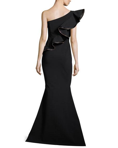 Nene One-Shoulder Trumpet Evening Gown w/ Ruffle