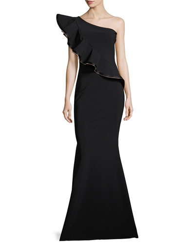 Nene One-Shoulder Trumpet Evening Gown w/ Ruffle
