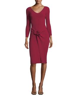 V-Neck Long-Sleeve Side Bow Crepe Cocktail Dress