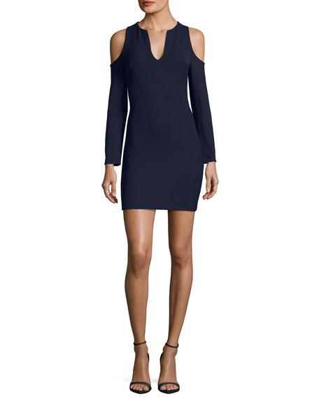 Niko Split-Neck Cold-Shoulder Crepe Dress