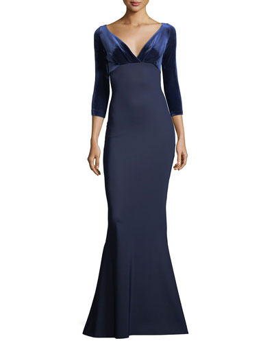 Ruth V-Neck 3/4-Sleeve Trumpet Gown with Velvet