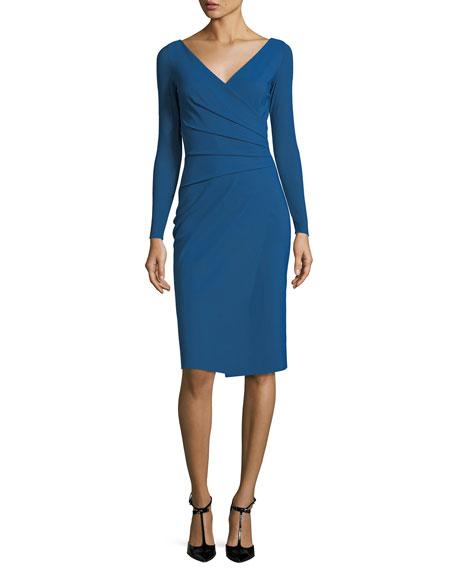 Damaris Long-Sleeve Faux-Wrap Jersey Cocktail Dress