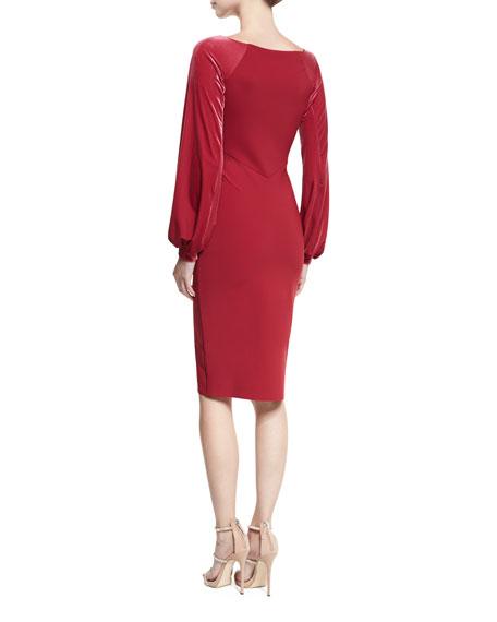 Narda Scoop-Neck Cocktail Dress w/ Velvet