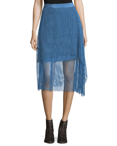Draped Lace A-Line Midi Skirt