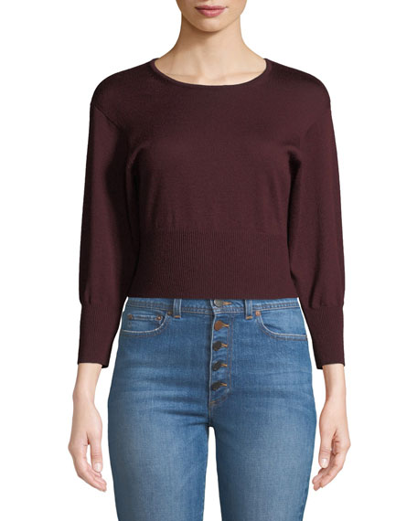Crewneck Cropped Knit Pullover Sweater