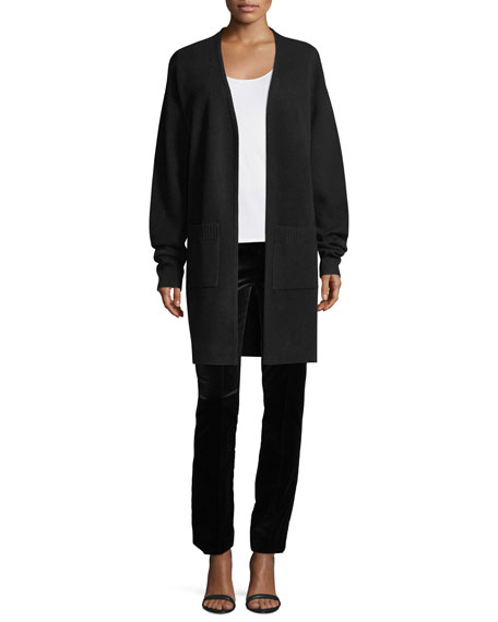 Long-Sleeve Open-Front Knit Cashmere Cardigan Sweater
