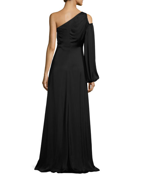 Tiana Asymmetric-Neck One-Sleeve Evening Gown