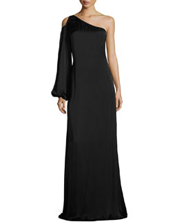 Tiana Asymmetric-Neck One-Sleeve Evening Gown