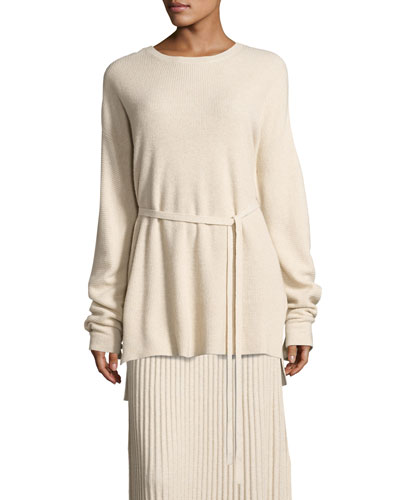 Gisella Slouchy Rib-Knit Crewneck Belted Sweater