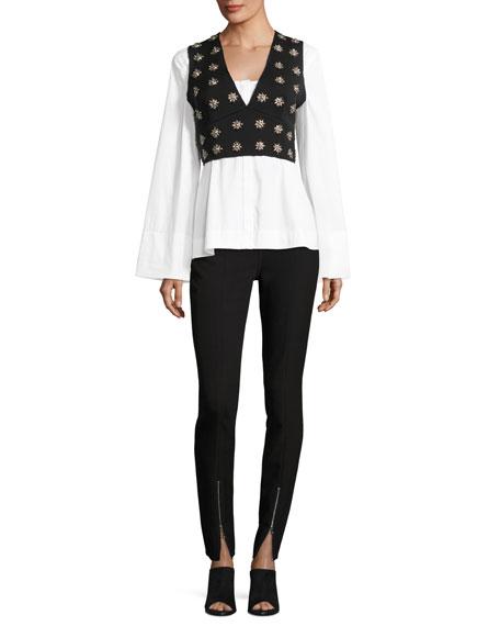 Leola Embellished Cross-Back Sleeveless Crop Top