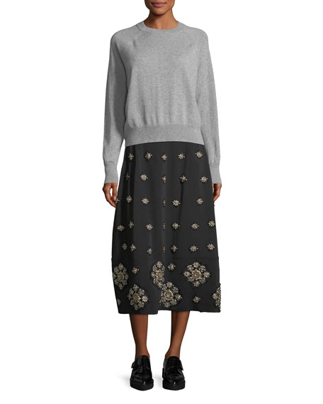 Lottie Embellished Midi A-Line Skirt
