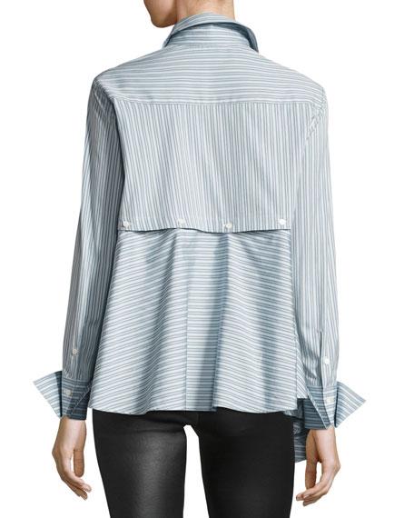 Spicy Striped Detachable Asymmetric Cotton Shirt