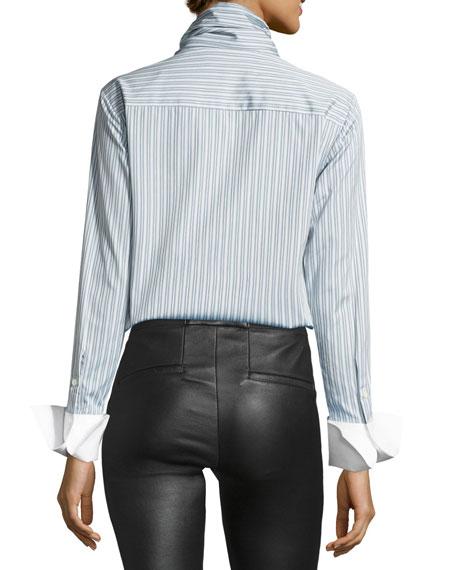 Bow-Front Striped Long-Sleeve Poplin Shirt