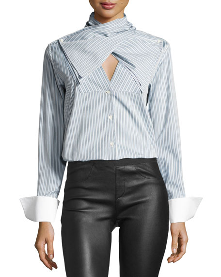 Bow-Front Striped Long-Sleeve Poplin Shirt