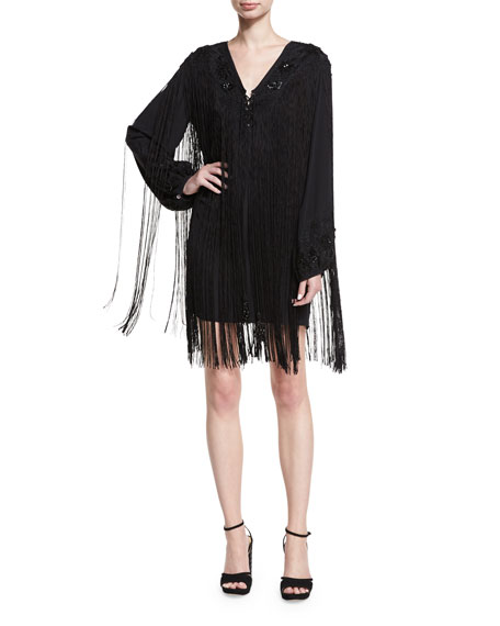 V-Neck Lace-Up Fringe Cocktail Dress
