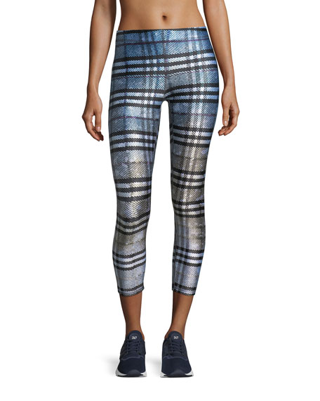 Dip-Dye Plaid Capri Performance Leggings