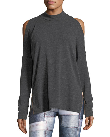 Mock-Neck Cold-Shoulder Side-Zip Pullover Top