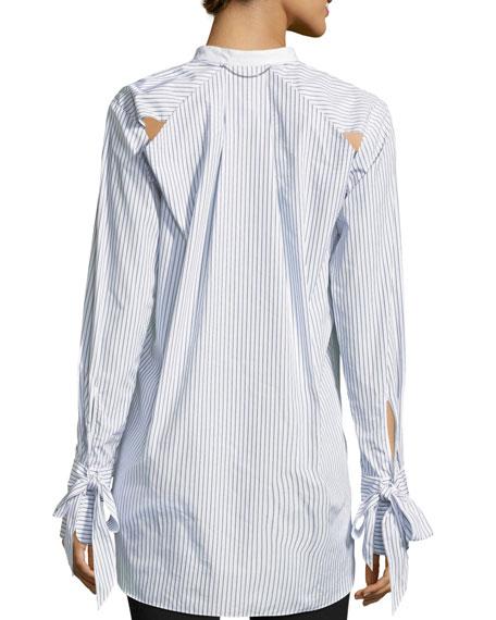 Dylan Long-Sleeve Striped Poplin Shirt