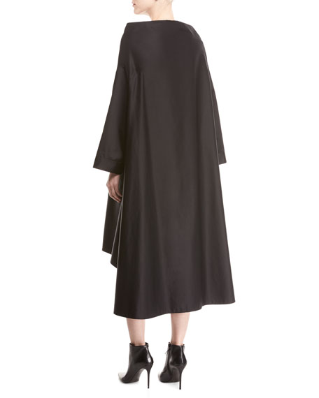 jasmin bateau-neck button-front long-sleeve a-line dress