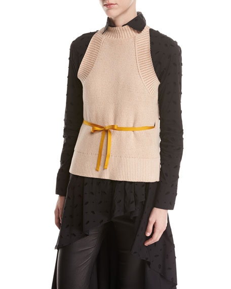 split-back halter sleeveless cotton sweater