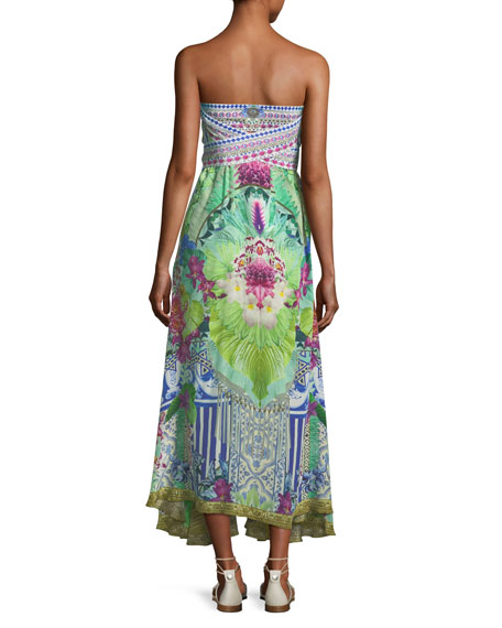 Strapless Multi-Wear Printed Silk Sarong/Dress Coverup, One Size