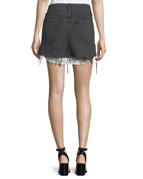 Mid-Rise Cutoff Denim Skirt w/ Shirttail Hem