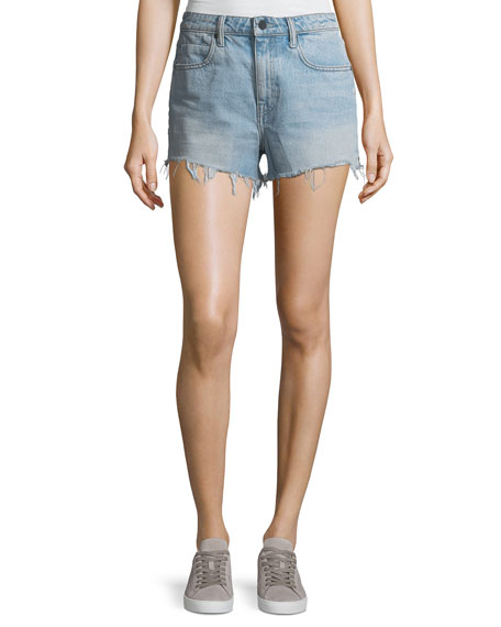 alexanderwang.t Bite Light-Wash High-Rise Cutoff Denim Shorts