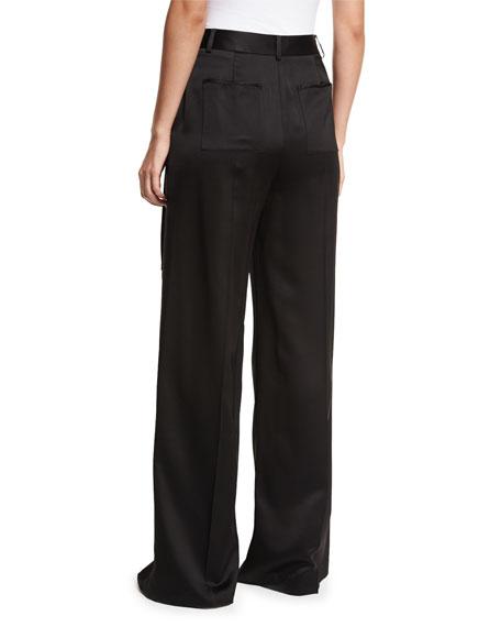 Satin Suiting Wide-Leg Wrap-Front Pants w/ Side-Tie