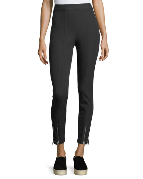 Stretch-Cotton Fitted Pants w/ Ankle Zippers
