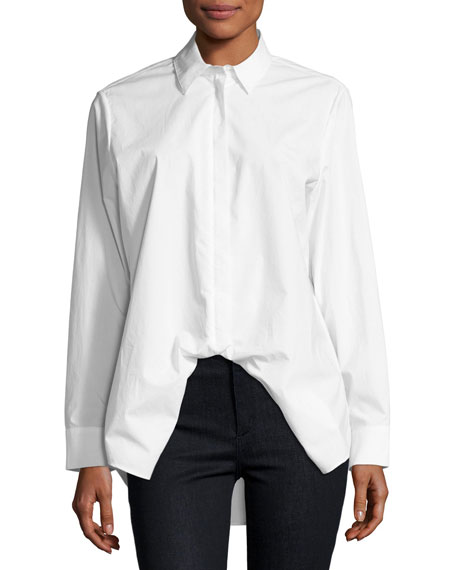 Spread-Collar Long-Sleeve Poplin Shirt