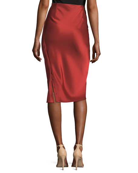Heavy Draped Satin Pencil Midi Skirt