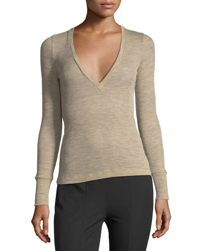 Deep V Sheer Wooly Rib-Knit Sweater
