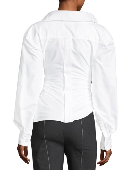 Ruched Asymmetric Poplin Blouse