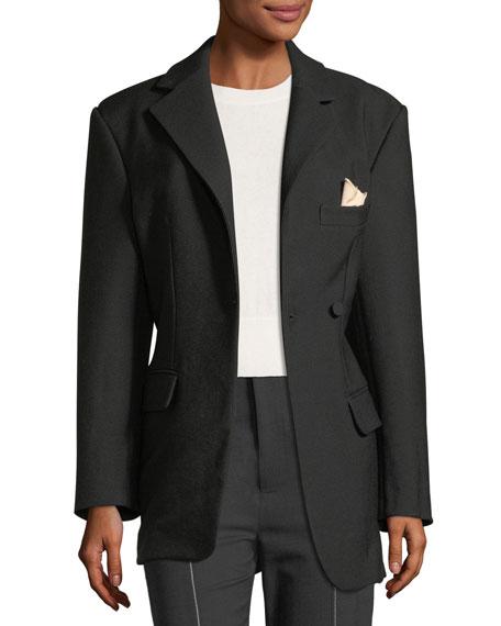 Asymmetric One-Button Wool Jacket