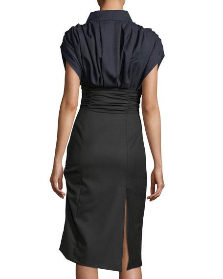 Ruched Tie-Neck Wool Dress