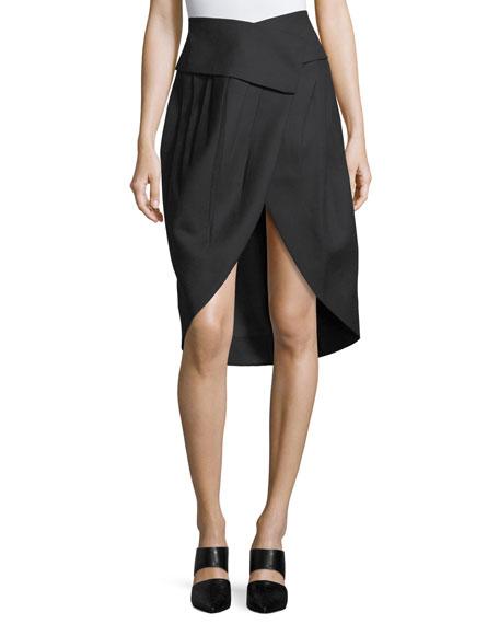 Wrap-Front Tulip Skirt