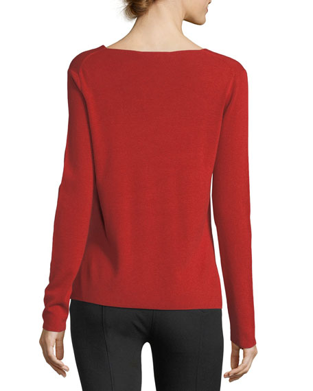 V-Neck Long-Sleeve Viscose-Blend Sweater