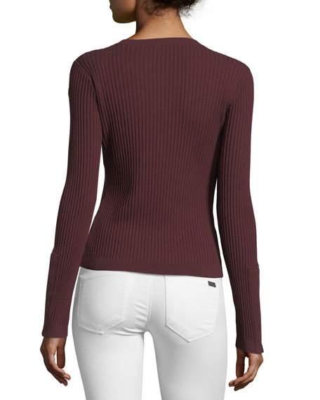 Crewneck Wide-Rib Long-Sleeve Sweater
