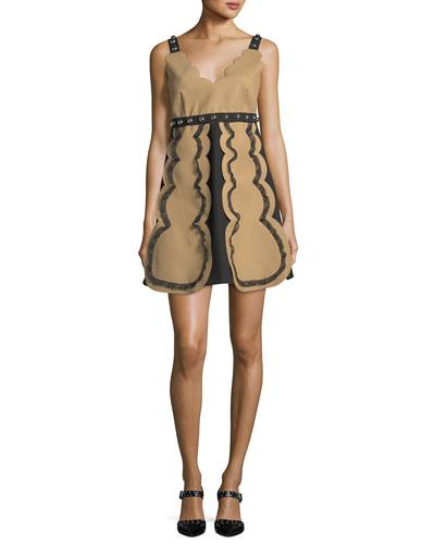 Sleeveless Colorblocked V-Neck Dress w/ Scallop & Stud Trim