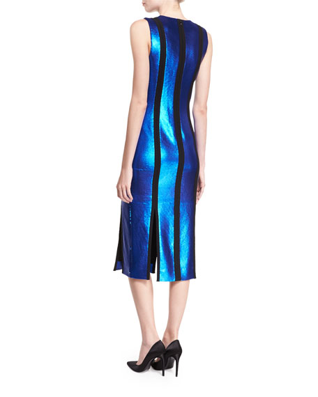Sleeveless Tailored Sequin Paneled Dress