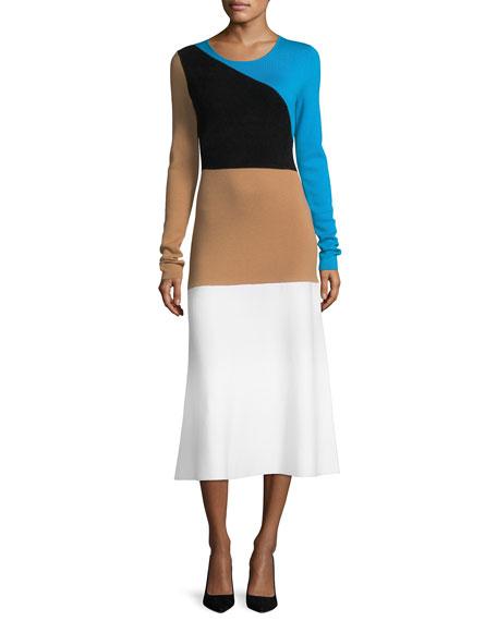 049eae5b72d Diane von Furstenberg Crewneck Long-Sleeve Flare Knit Midi Dress