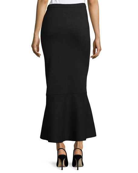 Pull-On Knit Flared-Hem Wool Maxi Skirt