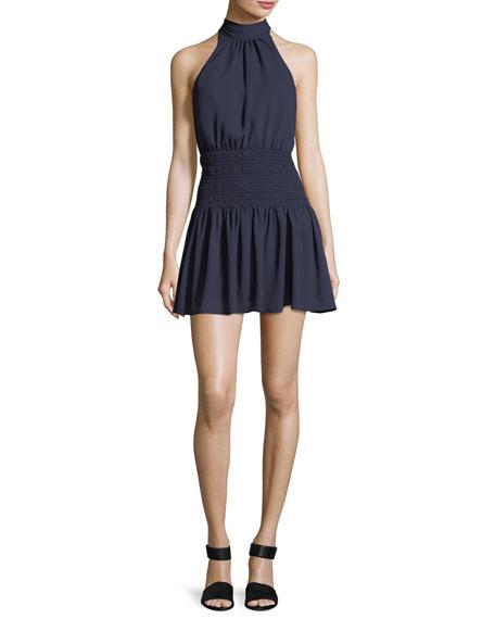 Weston Mock-Neck Sleeveless Smocked Mini Dress in Black