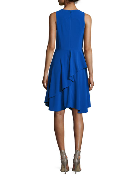 Sleeveless Round-Neck Sheer-Insert Crepe Cocktail Dress