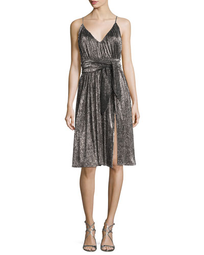 Sleeveless V-Neck Lurex® Jersey Midi Dress