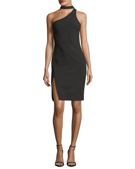 Adelaide One-Shoulder Fitted Crepe Cocktail Dress