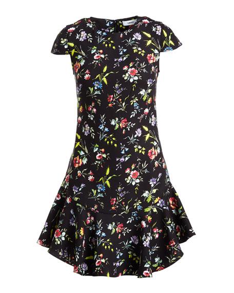 Belle Bright Botanical Cap-Sleeve Mini Dress