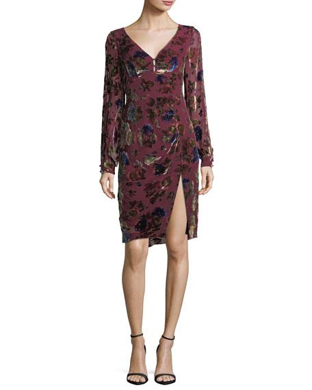Lolita V-Neck Velvet Floral-Burnout Day Dress