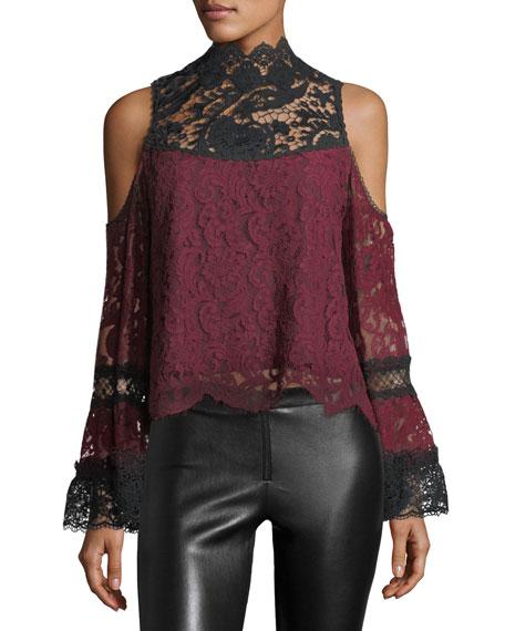 Lelia Cold-Shoulder Two-Tone Lace Top