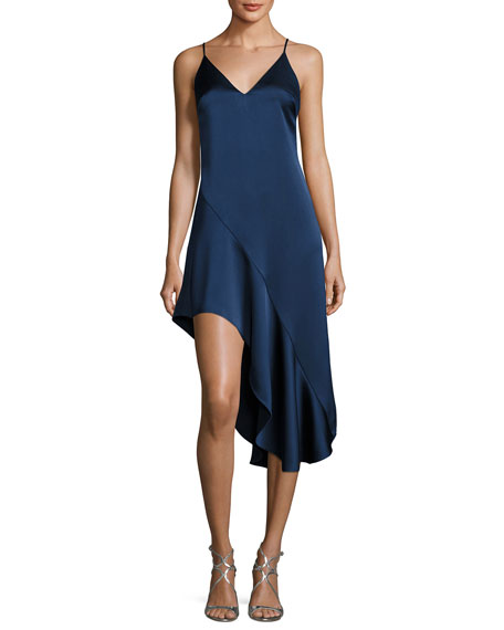 Sleeveless V-Neck Asymmetric Flounce Satin Cocktail Dress